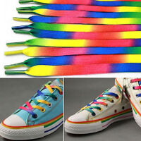 5Pair 110cm Flat Rainbow Shoelace Sports Sneakers Strings Strap Bootlaces