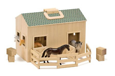 Melissa & Doug Fold and Go Wooden Horse Stable Dollhouse With Handle and Toy Hor