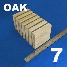 "LOT x 7 SQUARE 4.0""/ 100 mm WOODEN BLOCKS BUNDLE SET OAK WOOD NATURAL ECO PLAQUE"