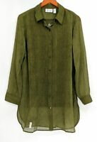 Denim & Co. Women's Top Sz M Studio Printed Tunic Shirt w/ Tank Green A291632