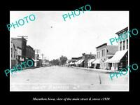 OLD LARGE HISTORIC PHOTO OF MARATHON IOWA, VIEW OF THE MAIN ST & STORES c1920