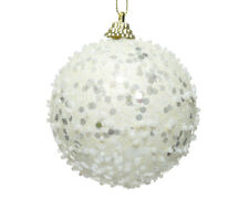 12 x Large Wool White Sparkle & Bead Decorated Christmas Tree Baubles Decoration