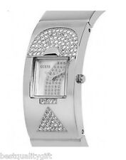 NEW-GUESS SILVER TONE ? LOGO STAINLESS STEEL+CRYSTAL WATCH BANGLE-U11625L2