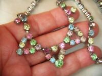 Earlier VINTAGE Tutti Frutti Pastel Crystal Rhinestone ART DECO NECKLACE