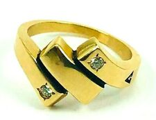 14K SOLID Yellow Gold Unisex Ring With Diamonds 7.4 Grms