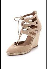 Aquazzura Belgravia Nude Beige Suede Wood Wedge Espadrille Sandal Size EU39 New