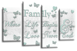 Family Quote Canvas Wall Art Picture Love Home Print GREY WHITE DUCK EGG 4SPLIT