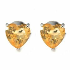 1.2ct Stunning 6mm Genuine Citrine Heart Solid Sterling Silver Stud Earrings Hot