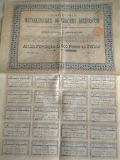 Vintage share certificate Stocks Bonds Metallurgique de Verchny Dniéprovsk 1902