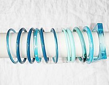 COOL VINTAGE RETRO LUCITE PLASTIC BANGLES 11 IN COLLECTION TURQUOISE TEAL BLUES