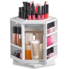 WHITE Rotating Makeup POTS Organizer Vanity Storage Cosmetics Desk Salon Display