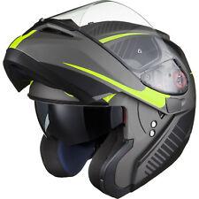 Black Optimus SV Tour Matt Black Safety Yellow Flip Front Motorcycle Helmet Lid