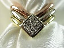 18K Diamond Chevron Ring Tri-Color Gold G/VS Size 6.5 Signed Rose White Yellow