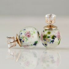BEAUTIFUL LARGE PRINTED GLASS AND FAUX CRYSTAL STUD EARRING NEW