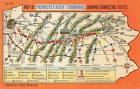 Postcard Map of Pennsylvania Turnpike