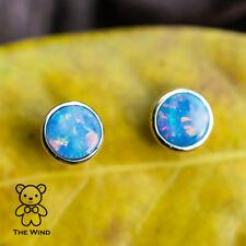 Minimalist Round Australian Doublet Black Opal Stud Earrings 14k Yellow Gold