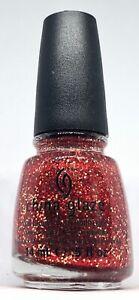 China Glaze Nail Polish Pure Joy 1113 Red + Gold Micro Glitter Sparkle Lacquer
