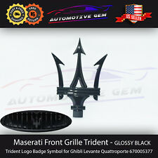 Maserati Front Grille Emblem Glossy Black Trident Logo Badge Symbol 670005377