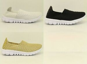 Womens-Ladies Trainers Woven Elasticated Strerch Gym Pumps Sport NEW* UK Size3-8