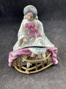 ANTIQUE VICTORIAN PORCELAIN WOMAN  IN A HOOP SKIRT TRINKET BOX