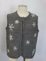 Cabela's Womens 100% WOOL Zippered Front Sweater Size M Reg. Gray & White