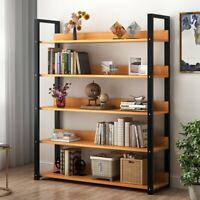 5 Tier Shelving Unit Metal Wood Shelf Rack Kitchen Home Storage Organizer NEW