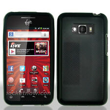 For LG Optimus Elite LS696 TPU Gel GUMMY Hard Skin Case Phone Cover Black Smoke