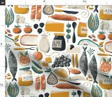 Mouse Gets Cheese Fish Party Food Fruits Spoonflower Fabric by the Yard