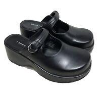 Tommy Hilfiger Women Black Leather Mules Clogs Size 5 1/2 M