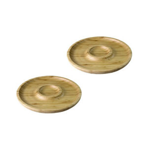 "Wilmax Natural Bamboo Round Chip and Dip Serving Platter - 10"" (Set of 2)"