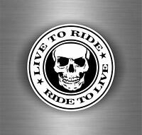 Adesivi adesivo sticker moto auto biker tuning skull teschio live to ride
