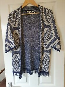 LADIES FAT FACE CARDIGAN S, BLUE, WHITE KNIT, OPEN FRONT, SHORT SLEEVES, FRINGE