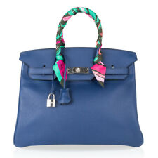 Hermes Birkin 35 Bag Blue Sapphire Limited Edition w|Toile Sea Surf Fun Interior