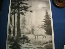 * Tri Chem 8828 Elk In The Moonlight Pine Trees Forest Picture Trichem