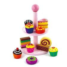 Wooden Role Play Toy Cupcakes Cakes & Biscuits With Tea Stand