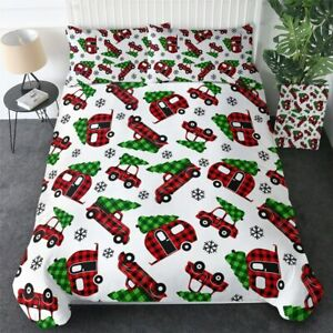 Christmas Tree Car Trailer Red King Queen Twin Quilt Duvet Pillow Cover Bed Set