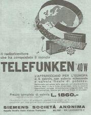 W4009 Radio Telefunken 40 W - Pubblicità del 1930 - Vintage advertising