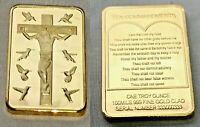 Jesus Christ 10 Commandments Gold Bar Crucifix Easter Birds Prayer Good Friday