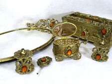 Vintage Ormolu Vanity Dresser Set Gold Filigree Glass Jeweled Casket Boudoir