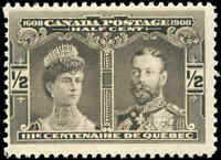 1908 Mint Canada F Scott #96 1/2c Quebec Tercentenary Issue Stamp Never Hinged