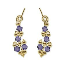 Ear Sweeps Pins Climber Vines Earring Gold with Swarovski Tanzanite Crystals 244