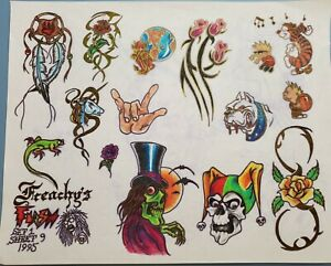 vintage original '95 tattoo flash brian frenchy tribal jester cartoon from monk