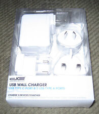 DE 3 USB Port Travel Wall Charger With 2 Type A & Type C Port with US,EU,UK & AU