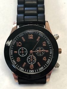Rubber Silicone Women's Black Rose Gold Watch
