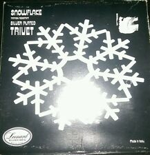 "Leonard Silverplate Snowflake Trivet Made In Italy 9"" Christmas Decor Kitchen"