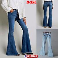 Women Palazzo Bell Bottoms Jeans Flare Denim Pants High Waist Wide Leg Trousers