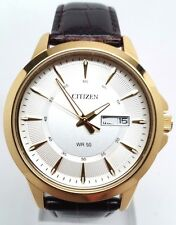 Citizen Men's Dress Gold Tone Stainless Steel Leather Strap Watch BF2018-01A