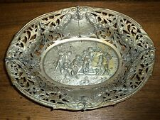 Old / Antique Fancy Silverplate Bowl - Worn - Babies On Horse