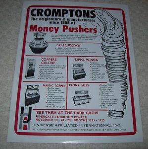 CROMPTONS MONEY PUSHERS ARCADE FLYER BROCHURE 1976
