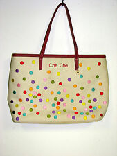 Che Che New York Tote bag fun polka dot design 13x10.5x3.5  as is pre owned